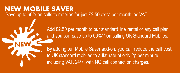 New Mobile Call Saver - Call mobile phoned for 2p per minute inc VAT 24/7